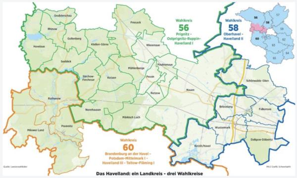 Die Wahlkreise des Havellands. (Graphik: MAZ/Detlev Scheerbarth)