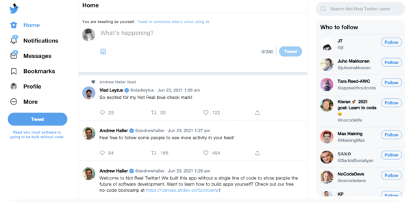 Not Real Twitter | Built in Bubble