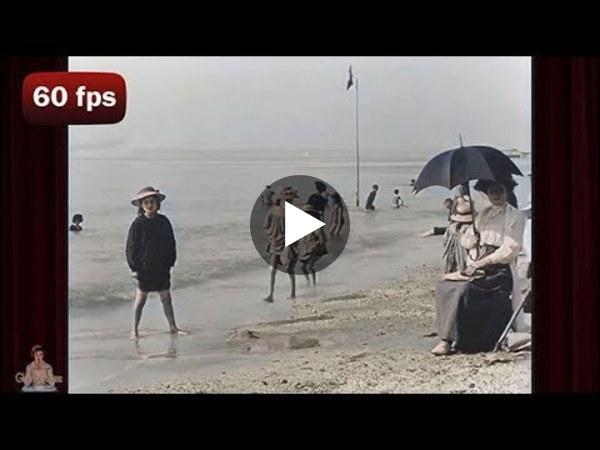 A Day at the Beach - c.1899 | AI Enhanced Film [ 4k 60 fps]
