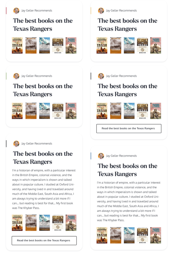 Playing with a new card format for showing off book lists.