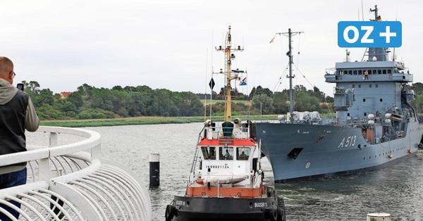 """Marine-Schiff """"Rhein"""" verlässt nach Instandhaltung Wolgaster Peene-Werft"""