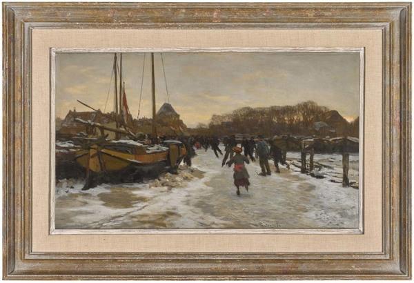 'IJsvermaak' - olieverf op doek: Willem Bastiaan Tholen (Kavel 83. European & British Art veiling Sotheby's, Londen)