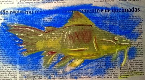 Em algum momento embrulhou-se o peixe no jornal. Então fiz esse aí em homenagem ao Jozz