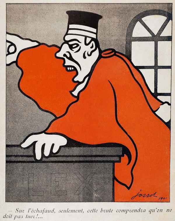"""Les caricaturistes de """"L'Assiette au beurre"""" (ici G. Jossot) n'épargnent aucune des institutions républicaines, à une époque où les médias audio-visuels ne faisaient pas la pluie et le beau temps."""