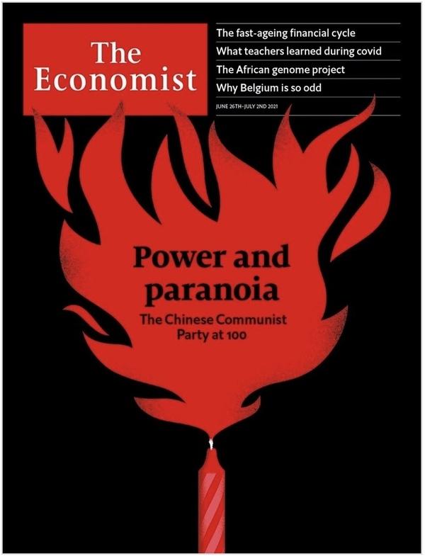 Omslaget till veckans The Economist; fokus på kommunistpartiets 100-årsdag.