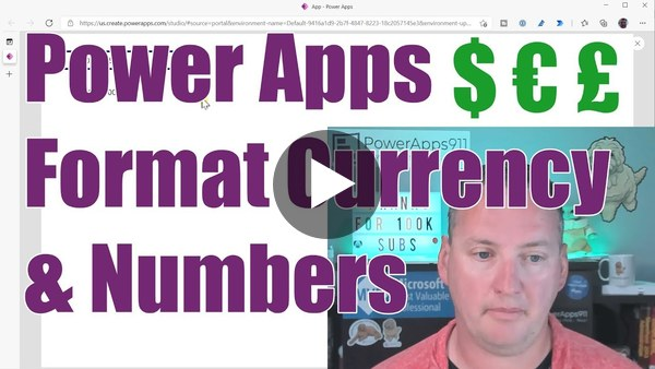 PowerApps Text function to format currency and numbers