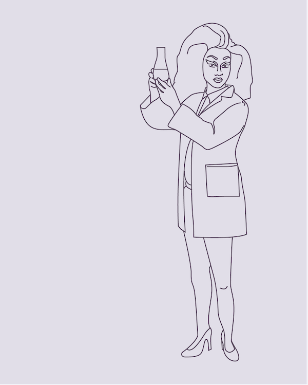 Illustration of a scientist dressed as a drag queen. By Eddie Stok. Credit: www.areweeurope.com