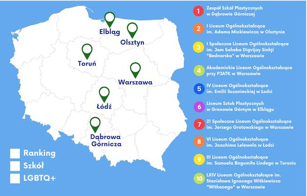 Map of LGBTQ-friendly schools in Poland. Credit: https://maparownosci.pl/