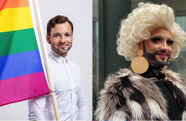 Lithuanian lawmaker Tomas Vytautas Raskevičius (left) and in his drag persona, Okeanidė (right). Photo: https://www.instagram.com/tomas_vytautas