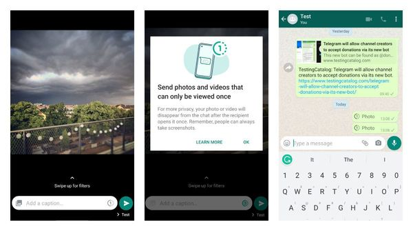 WhatsApp got a possibility to set media files to be viewed only once on Android