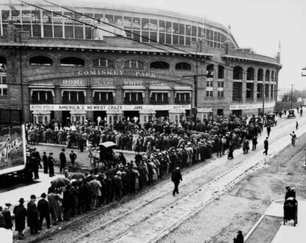 Play ball! Fans line up outside of Comiskey Park at 35th Street and Shields Avenue in 1912. From the Sun-Times archive.