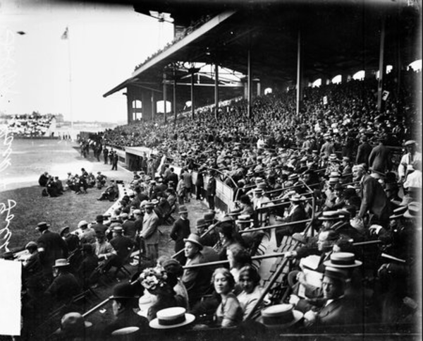 Comiskey Park may have been the home of the White Sox, but the venue hosted other events. Here, a crowd in the grandstands watches a 1911 wrestling bout between wrestlers Frank Gotch and George Hackenschmidt. From the Sun-Times archive.