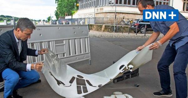 Verwischtes Statement: Das steckt hinter dem Schriftzug auf dem Dresdner Elberadweg