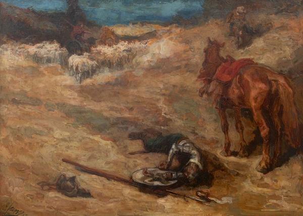 'Scène uit Don Quichot' 1913 - olieverf op doek: Johannes Jurres (herkomst: coll. Kunsthandel Simonis & Buunk, Ede)