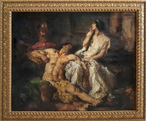 ' Samson and Delilah' - olieverf op doek: Johannes Jurres (herkomst: coll. Robert Funk Fine Art, Miami)