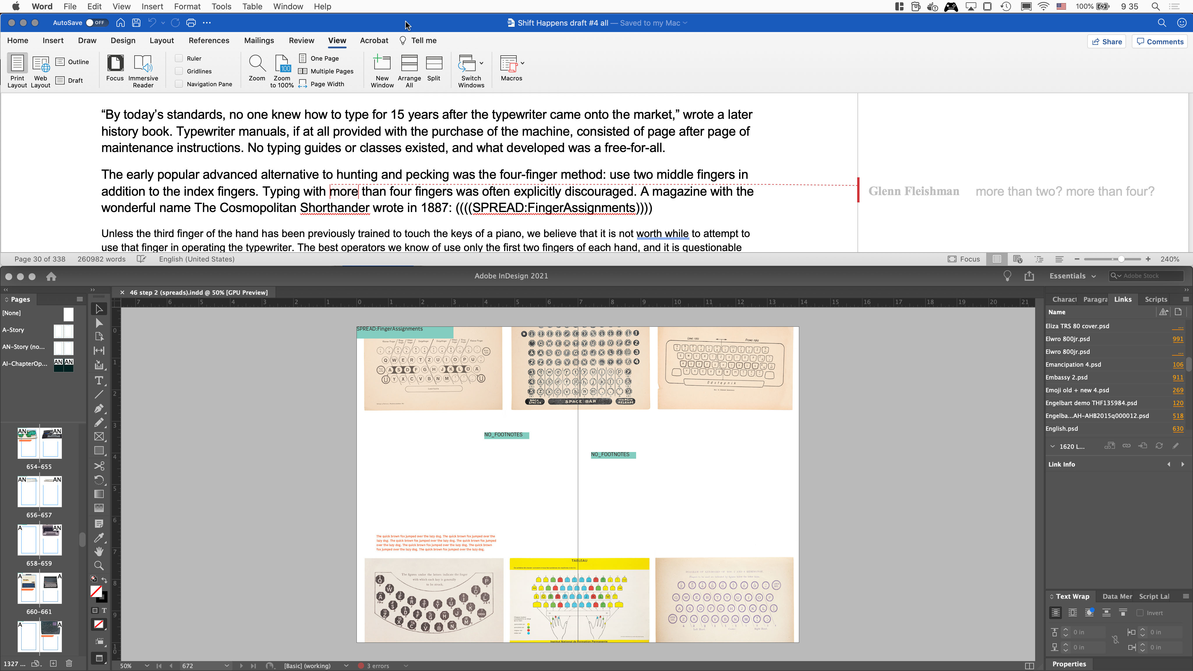 ↑ A passage in Word linking to a spread ↓ The spread and image caption ready for its text