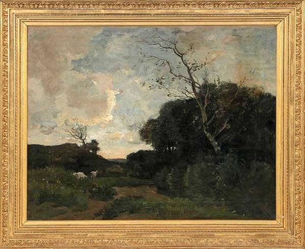 'Landschap met geiten' - olieverf op doek: Théophile de Bock (kavel 330. Derksen Veilingbedrijf)