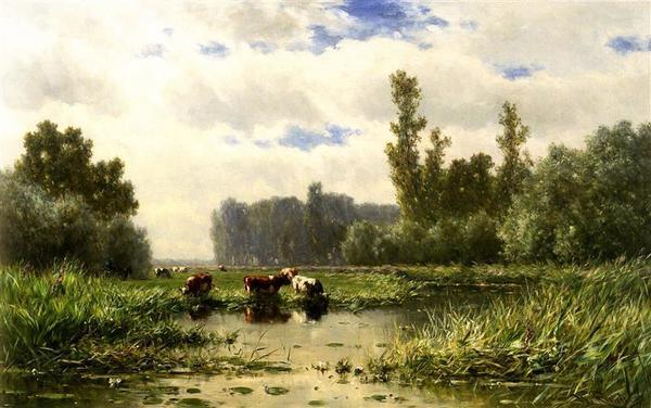 'Koeien aan de waterkant bij het Gein' - olieverf op doek: Willem Roelofs (herkomst: coll. Dordrechts Museum)