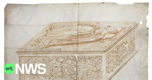 Le dessin à l'encre du tombeau de Marie de Bourgogne d'Ypres est un chef-d'œuvre flamand. - Inkttekening van graf Maria van Bourgondië uit Ieper is Vlaams topstuk