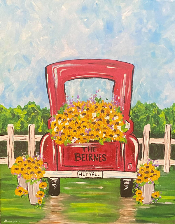 """Join Willow Oak Painting Party """"Sweet Southern Sunflowers""""   Friday, July 9th, 2021"""