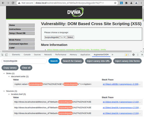 DOM Invader on DVWA