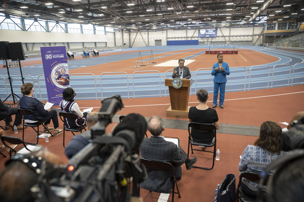 Mayor Lori Lightfoot spoke Tuesday at the opening of a new facility in Pullman which features an indoor track, plus space for other After School Matters programs.   Anthony Vazquez/Sun-Times
