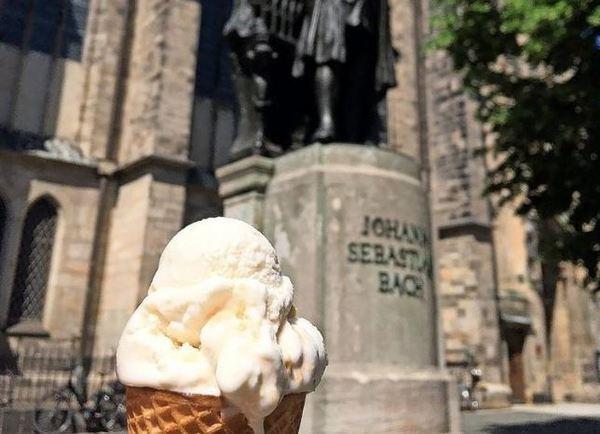 Eine Kugel Ziegenkäse mit Honig und Haselnüssen - gibt es gegenüber des Bach-Denkmals am Thomaskirchhof und auf der Könneritzstraße bei Tonis. Foto: jhz