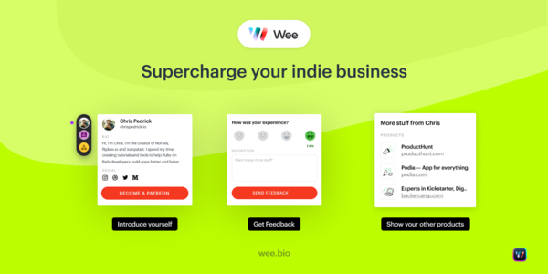 Wee is a widget for makers to promote themselves and get feedback on their products