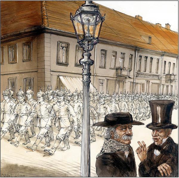 """Theodor Fontane (l.) und Baumeister Karl-Friedrich Schinkel in der Graphic Novel """"Lieber Fontane! Lieber Schinkel!"""""""