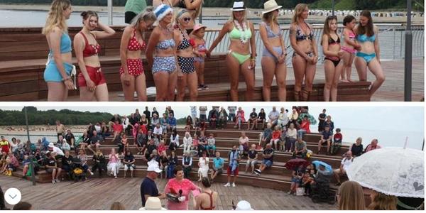 Frauen begeistern zum 75. Geburtstag des Bikinis auf Koserower Seebrücke
