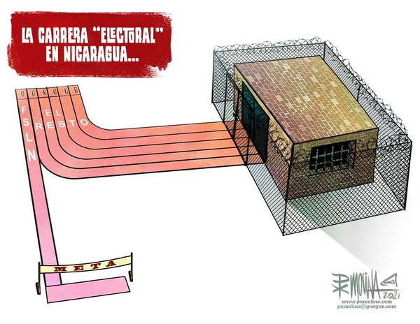 Course électorale au Nicaragua. Le couloir de droite est celui d'Ortega