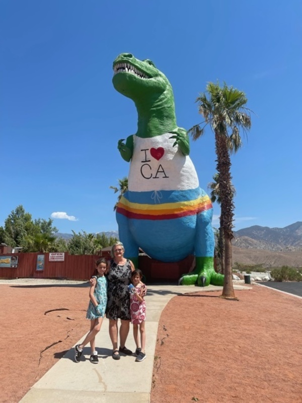 My sister, the kids and hot Dino summer en route to the Omni La Costa