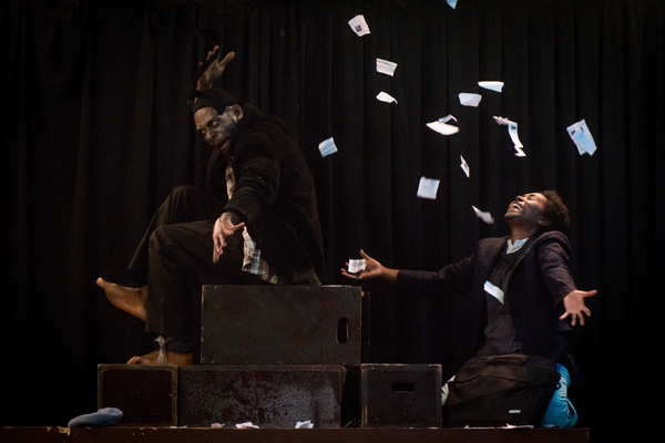 A rehearsal of the Wan Smolbag Theatre play Kaekae Rat, a show about conspiracy and deception