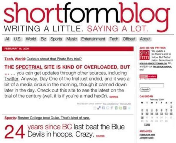 The first edition of the ShortFormBlog site, circa 2009.