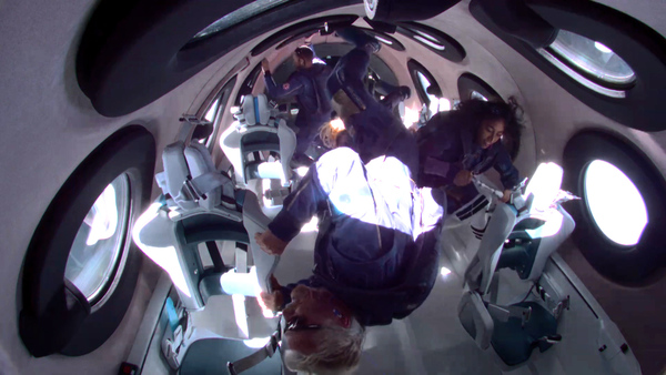 Richard Branson and the Unity22 Crew in space (Credit: Virgin Galactic)