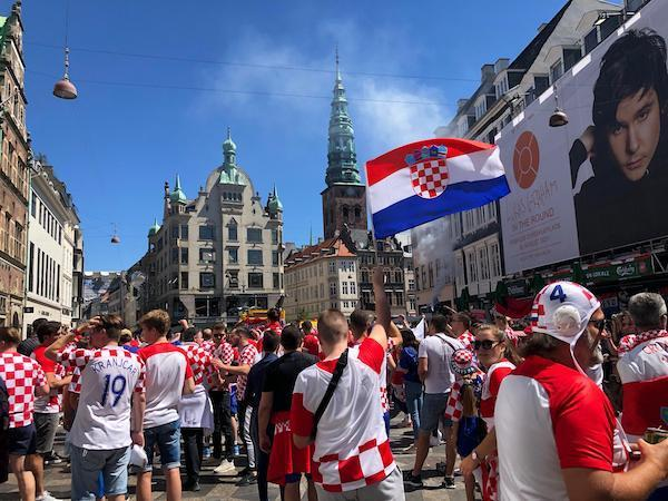 Croatian fans congregating in the city center of Copenhagen. The photo was taken by our author Samindra Kunti, who travelled across the continent to cover this summer's Euro from Saint Petersburg, Amsterdam, Copenhagen, Munich and London.