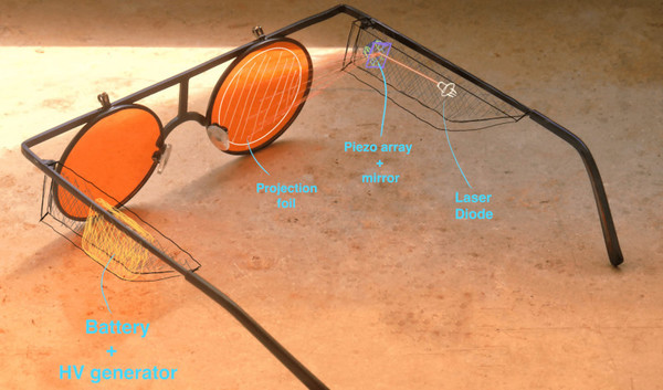 Laser Augmented Reality Glasses Show You The Way | Hackaday