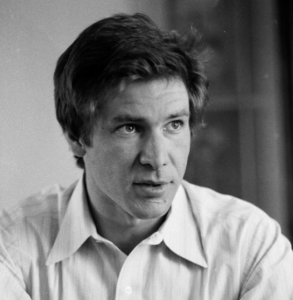 """Harrison Ford speaks to the press about """"Star Wars"""" during a press tour in Chicago on June 20, 1977. Photo by James DePree/Chicago Sun-Times."""
