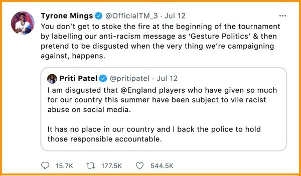 Tweet by English centre-back national player Tryone Mings. Screenshot: twitter.com/OfficialTM_3