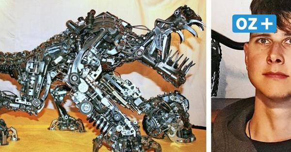 Shimano Saurus Rex: Rostocker baut futuristische Skulpturen aus Schrott-Teilen