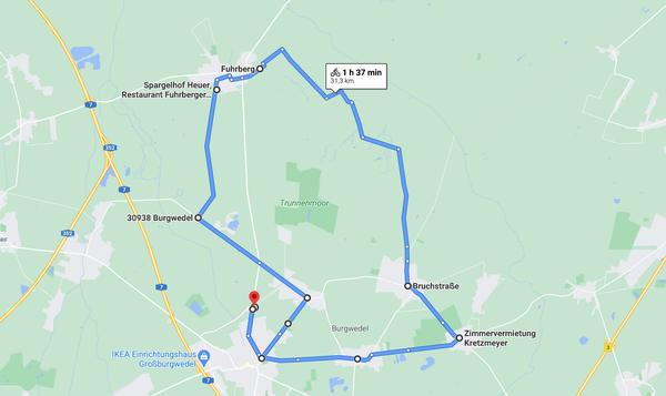 Die Fahrradtour durch Burgwedels Dörfer ist 31,5 Kilometer lang. (Quelle: Google Maps)