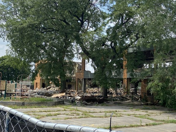 The former building of Crispus Attucks Elementary School — in the midst of demolition — was one of the 49 schools shut down in 2013 by the Chicago Board of Education in the largest school closing in American history. Evan F. Moore/Sun-Times