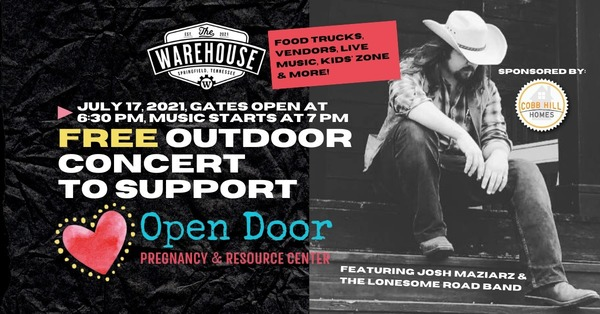 Marketplace & FREE Live Music at The Warehouse with Josh Maziarz & The Lonesome Road Band! | July 17 @ 6:30pm