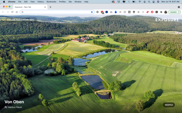 and you can do that when you see a curated, beautiful photo from around the world every time you open a new tab in Chrome or Firefox on desktop