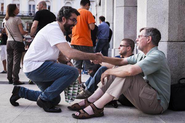 Saludando a Gary Allen en Puerta del Sol