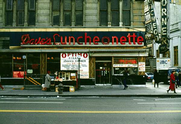 Dave's Luncheonette, New York City, circa 1980. I don't recall when I first heard of street photography, but it was at least a few decades after I took this photo and around the time of the invention of digital cameras. I was interested in buildings and signs and not people. Perhaps this could be called vernacular photography well after-the-fact.