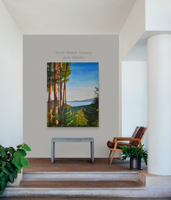 """Room view - """"One Late Afternoon"""" by Jody Waldie oil on canvas 60 × 48 inches."""