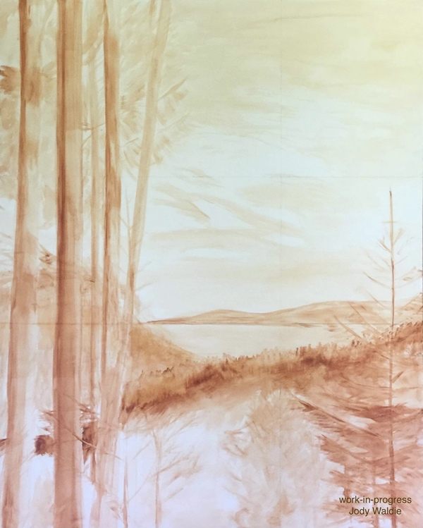 """Underpainting  - """"One Late Afternoon"""" by Jody Waldie oil on canvas 60"""" × 48""""."""