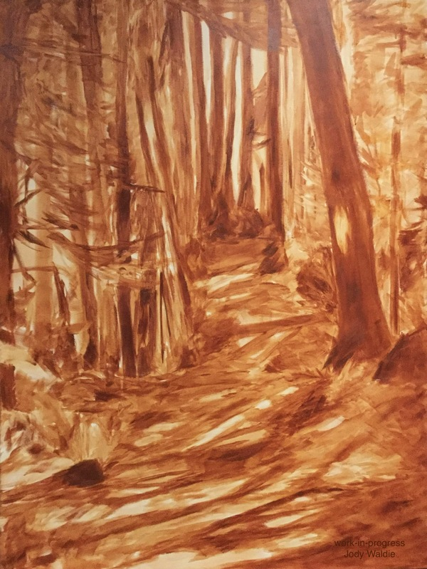 """Underpainting- """"Follow the Light"""" by Jody Waldie, oil on canvas 48"""" × 36""""."""
