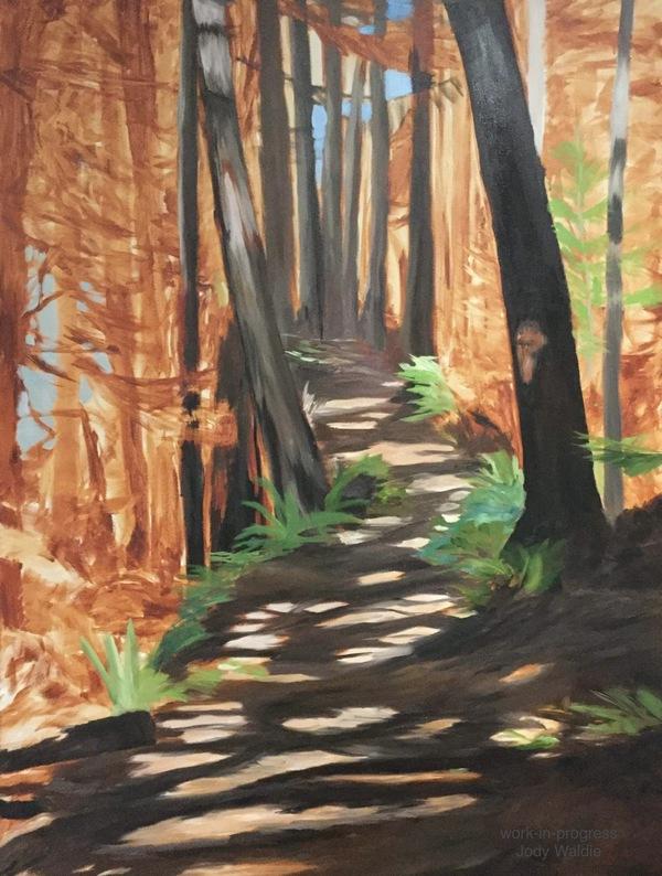 "Blocking in- ""Follow the Light"" by Jody Waldie, oil on canvas 48"" × 36""."